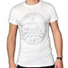 """Tee-shirt blanc """"Pièce de 1FF"""" - Origine France"""