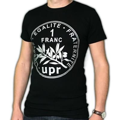 """Tee-shirt noir """"Pièce de 1FF"""" - Origine France"""