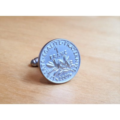 Boutons de manchette pièces de 1 Franc argent mat