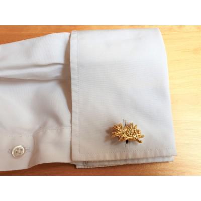 Boutons de manchette rameau d'olivier or mat
