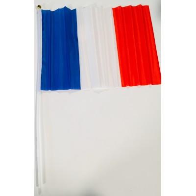 Drapeau français 30cm hampe plastique