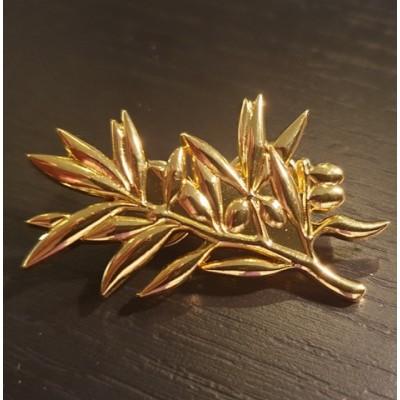Broche rameau d'olivier doré brillant